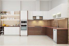 Cùng nội thất tủ bếp hình chữ L tô điểm bếp xinh
