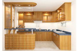Tủ bếp gỗ tự nhiên vừa tiện ích lại vừa làm đẹp cho không gian