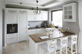 Mẫu tủ bếp gỗ sồi sơn trắng Giá rẻ | Nội thất Nhà Bếp Việt