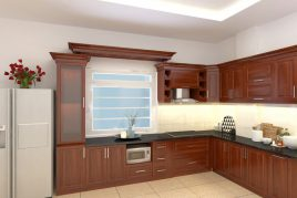 Tủ bếp gỗ xoan đào đẹp tự nhiên,sang trọng