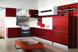 Tủ bếp gỗ Acrylic màu đỏ hiện đại