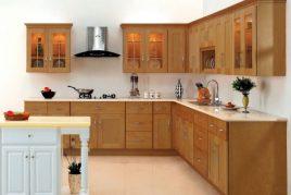 Tủ bếp gỗ xoan đào chữ L mang phong cách hiện đại